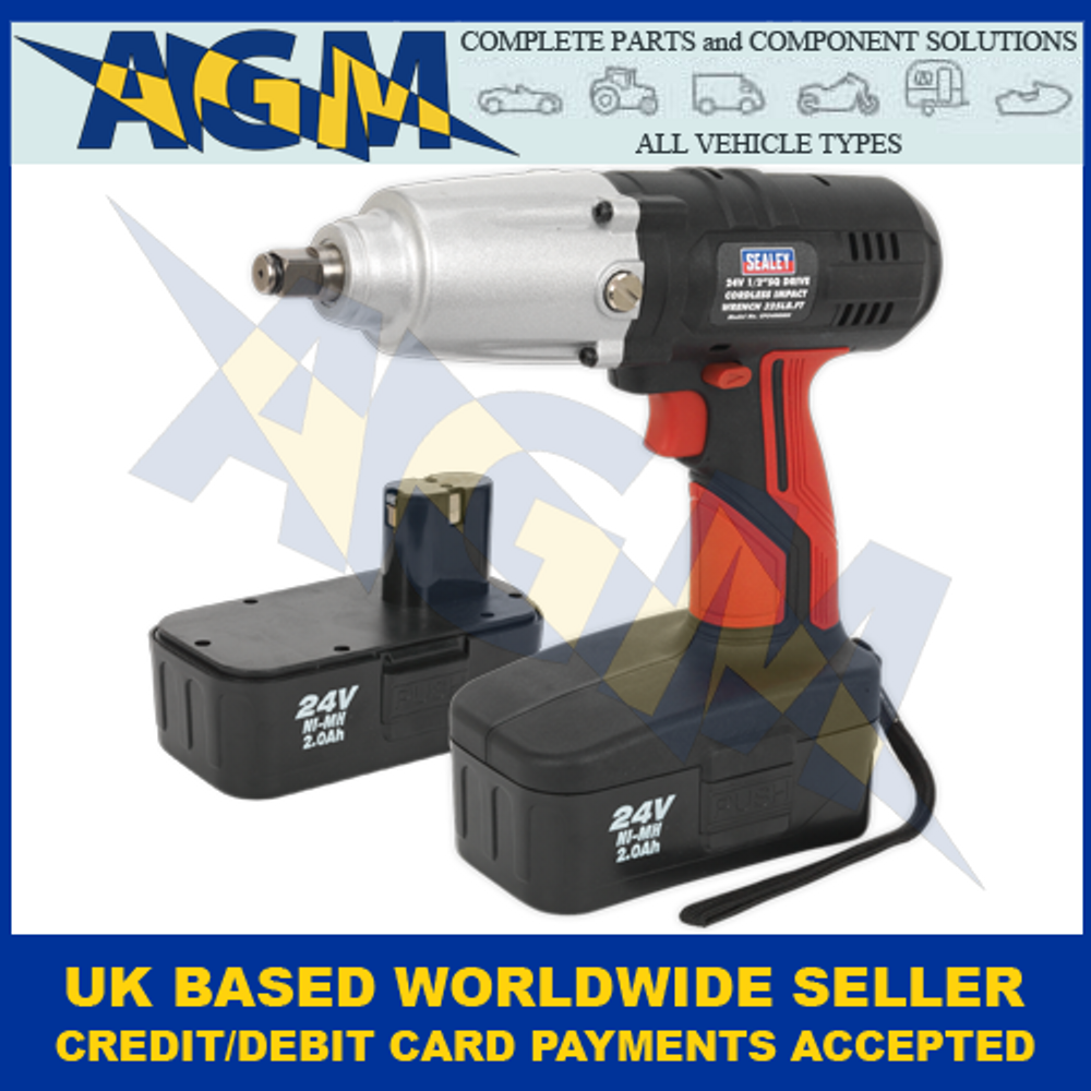 """Sealey CP2400MH, Cordless 1/2"""" Sq Drive Impact Wrench, 24v, With Two 2Ah Ni-Mh Batteries"""