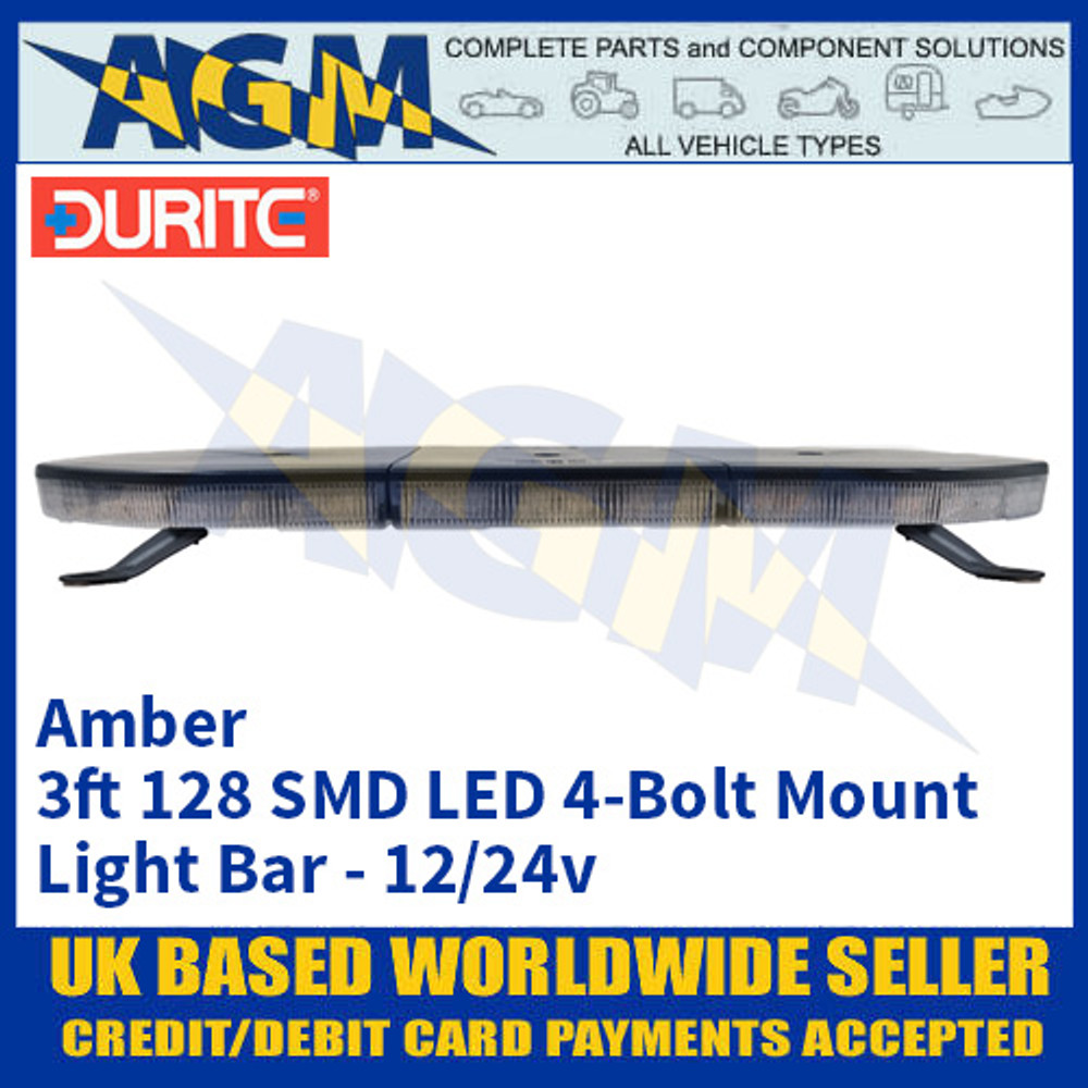 Durite 0-443-41 Amber 3ft 128 SMD LED 4-Bolt Mount Light Bar, 12/24v