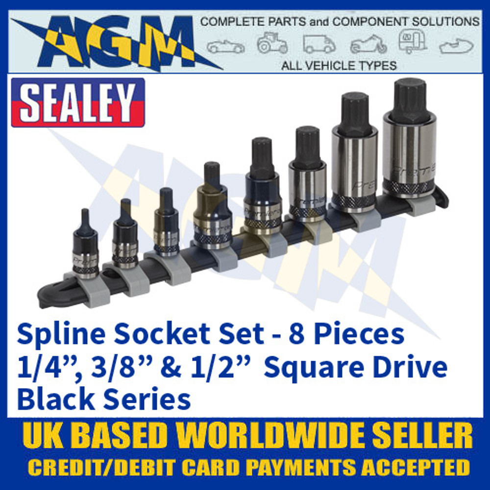"""Sealey AK6214B Spline Socket Set, 8 piece, 1/4"""", 3/8"""" & 1/2"""" Sq Drive, Black Series"""