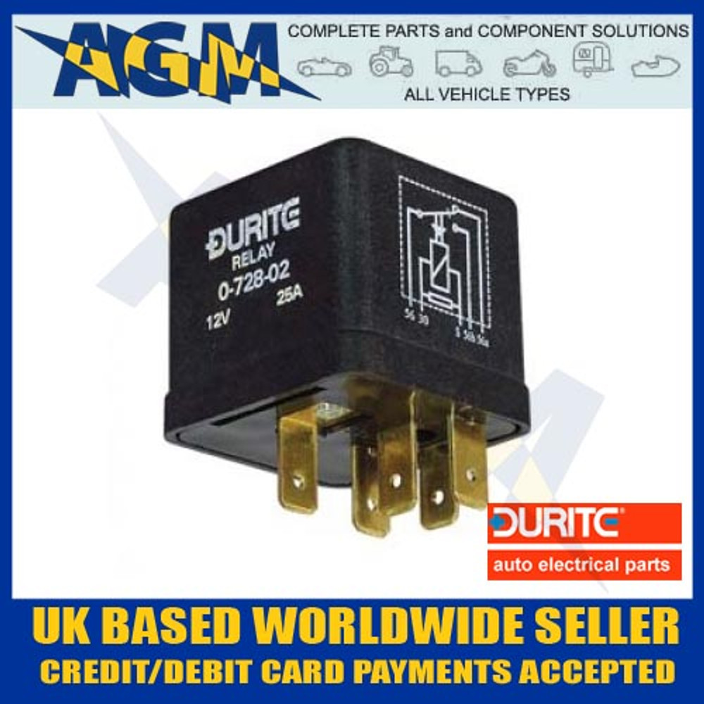 Durite 0-728-02, 25A, Latching Changeover Relay with Resistor, 12v