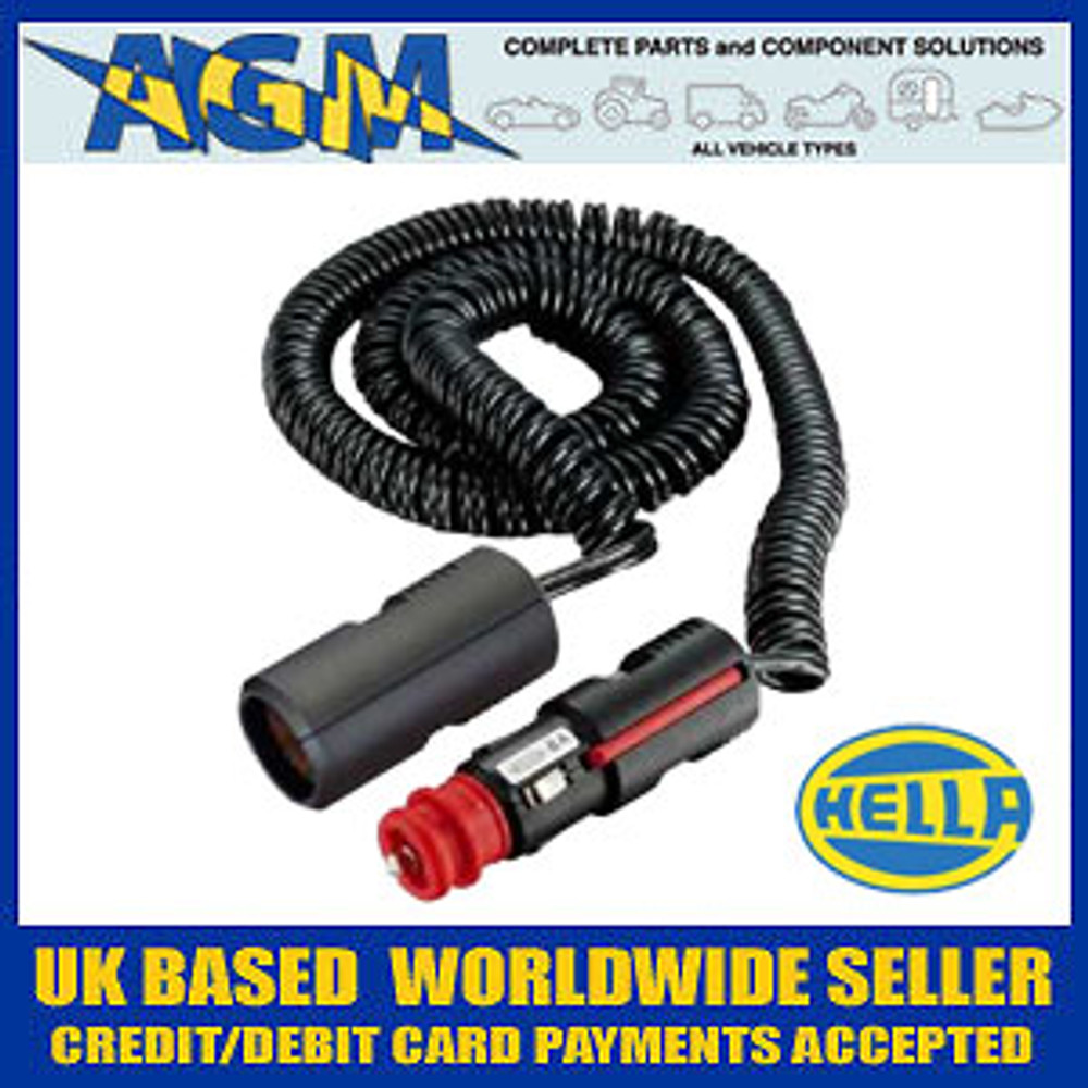 Genuine HELLA Din/Cigar Size Plug with Trailing Socket 3M Extension Lead
