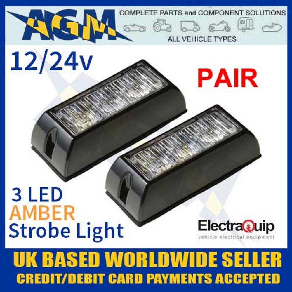 pair, led3dva, amber, led, strobe, light, multivolt, 12v, 24v