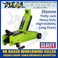 sealey, 1153cxhv, trolley, jack, tonne. long, chassis, heavy, duty