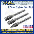 SDBK3 Sealey 3 Piece Rotary Burr Set