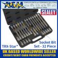 "Sealey TRX-Star* Socket Bit Set 1/2"" Square Drive"