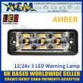 LED Autolamps SSLED3DVA Super-Slim Amber 3 Block LED Warning Lamp