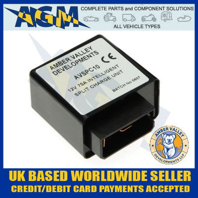 amber, valley, avspc10, 12v, 70a, intelligent, split, charge, voltage, relay