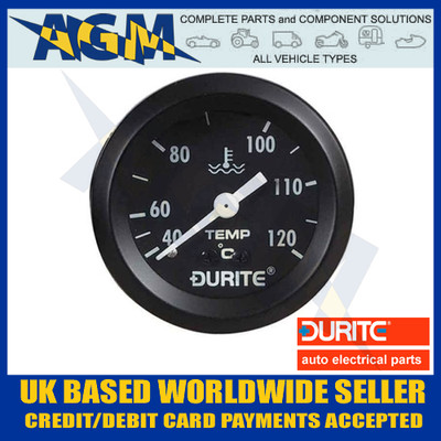 Durite 0-533-23 Water Temperature Gauge Mechanical 12'' Capillary Tube - Marine