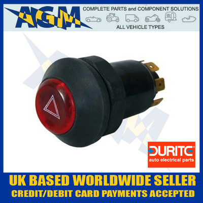 Durite 0-484-50 Illuminated Universal 12v Panel Mount Push Button Hazard Flasher Switch