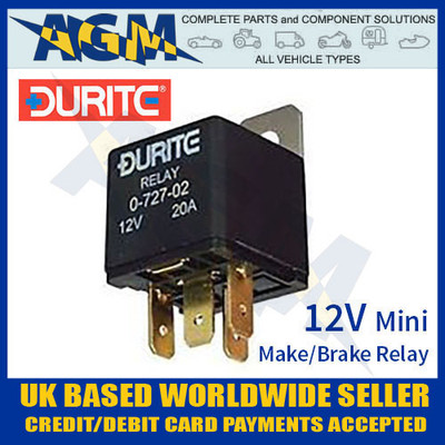durite, 072702, 0-727-02, 12v, relay, mini, make, break, relay