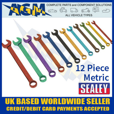 sealey, s01074, combination, spanner, coloured, metric