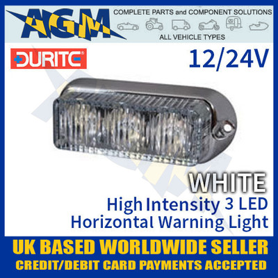 durite, 0-442-07, 044207, white, high, intensity, led, horizontal, warning, light, 12v, 24v