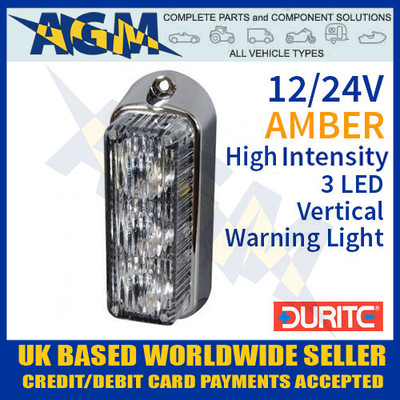 durite, 0-442-30, 044230, amber, high, intensity, led, vertical, warning, light, 12v, 24v