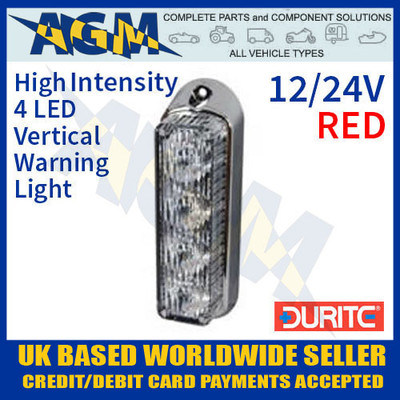 0-442-35, 044235, durite, red, high, intensity, led, vertical, warning, light, 12v, 24v
