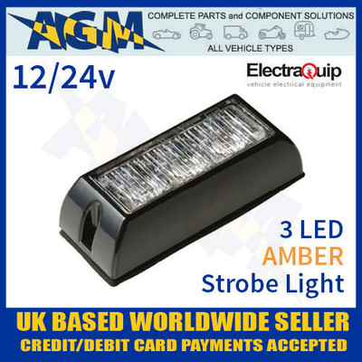 ElectraQuip LED3DVA Amber 3 LED Strobe Light Multivolt 12/24v