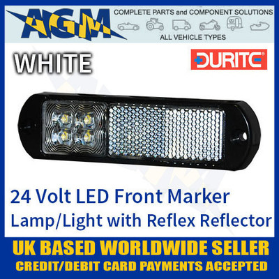 durite, 0-171-20, 017120, 24v, white, led, front, marker, lamp, reflex, reflector