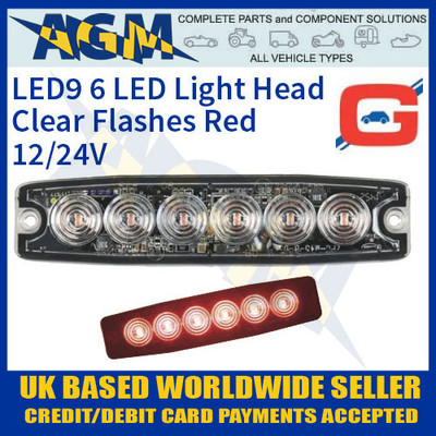 led9r, led, red, strobe, hazard, warning, lamp, light, thin