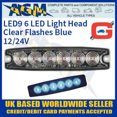 led9u, led, blue, strobe, hazard, warning, lamp, light, thin