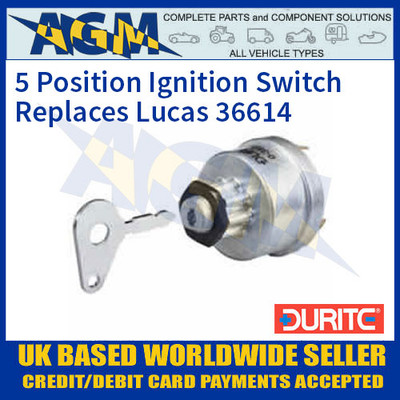 Durite 0-351-08 5 Position Ignition Switch Replaces Lucas 36614