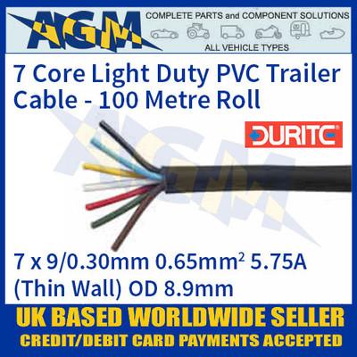 Durite 0-997-10 7 Core Light Duty PVC Trailer Cable 100 Metre Reel