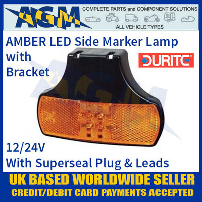 Durite 0-167-50 CLEAR/WHITE LED Side Marker Lamp with Leads