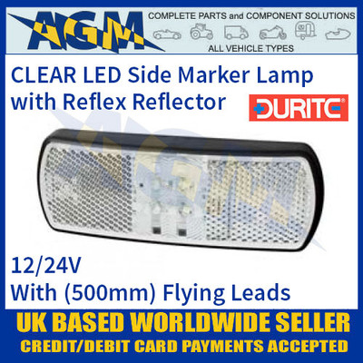 Durite 0-171-50 CLEAR/WHITE LED Side Marker Lamp with Leads