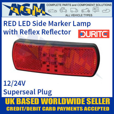 Durite 0-171-05 RED LED Side Marker Lamp with Reflex Reflector, Superseal Plug