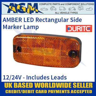 Durite 0-170-70 AMBER LED Side Marker Lamp with Leads, 12/24V