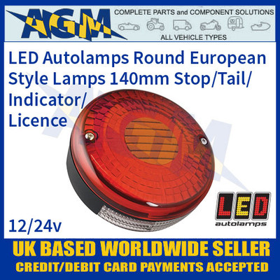 Round European Style Lamp, 140mm, 12-24v, Stop/Tail/Indicator/Licence