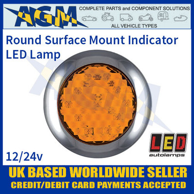 LED Autolamps 145AME Round Surface Mount Rear Indicator Lamp, 12-24v