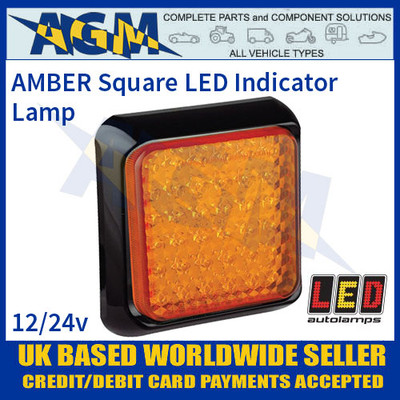 LED Autolamps 125AME AMBER Square Indicator Lamp/Light, 12-24v