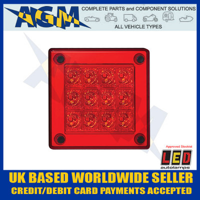 led, autolamps, 280rm, square, red, stop, tail, lamp, 12-24v