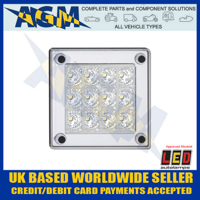 led, autolamps, 280wm, square, clear, reverse, lamp, 12-24v