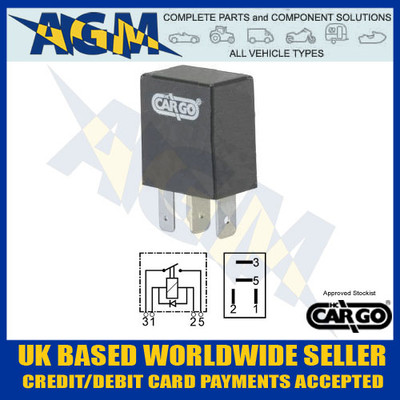 cargo, 160364, 25a, 12v, micro, make, break, sealed, relay, diode, 0-727-13, 072713