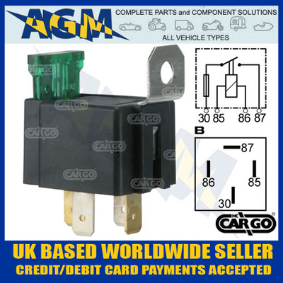 cargo, 160155, 4, pin, mini, fused, make, , break, relay, 12v