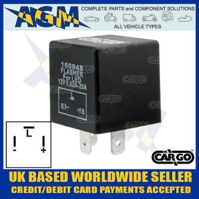 cargo, 160948, led, flasher, relay
