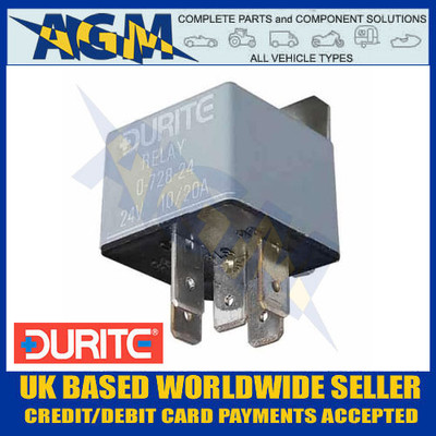 Durite 0-728-24, 24v, 5 Terminal Make/Break Relay with Bracket 10/20 Amp