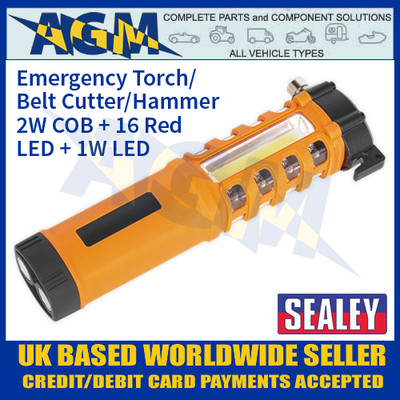 Sealey LED059 Emergency Torch/Belt Cutter/Hammer