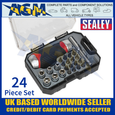 Sealey AK64906 Fine Tooth Ratchet Screwdriver & Accessory Set 24pc Stubby