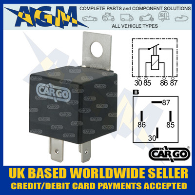 Cargo 160652, 6v, 4 Terminal Mini Relay with Bracket 20 Amps