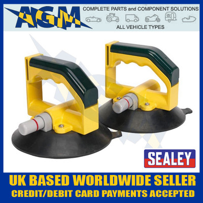 Sealey AK98943 Vacuum Suction Cup - Pair - For Glass Windscreens and Panels