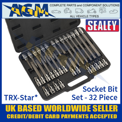 "Sealey TRX-Star* Socket Bit Set 1/2"" Square Drive"