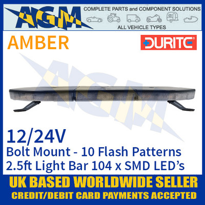 Durite 0-443-40 Light Bar, Amber 2.5ft (760mm) 104 LED Light Bar - 12/24V