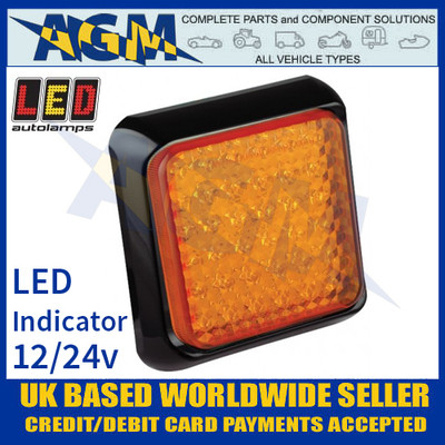 LED Autolamps 100AME Square Amber LED Indicator Lamp 12/24v
