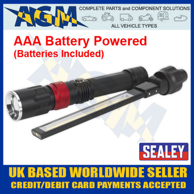 Sealey LED0121B Interchangeable AAA Battery COB Led Inspection Lamp And Torch