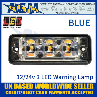 LED Autolamps SSLED3DVB Super-Slim Blue 3 Block LED Warning Lamp