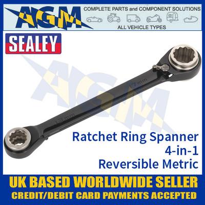 Sealey AK7979 Ratchet Ring Spanner 4-in-1 Reversible Metric