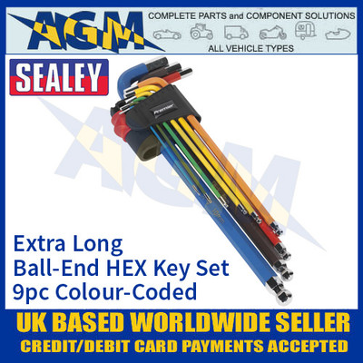 Sealey AK7191 Ball-End HEX Key Set 9pc Colour-Coded Extra-Long Metric