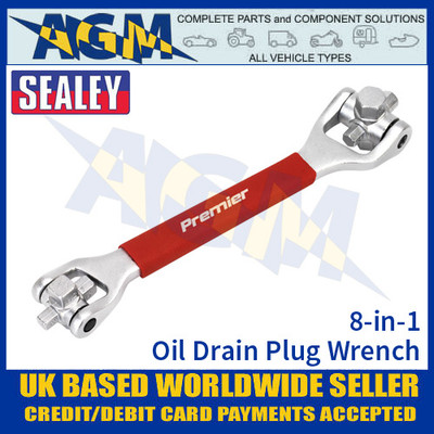 Sealey VS650 Oil Drain Plug Wrench, 8-in-1 Oil Plug Wrench