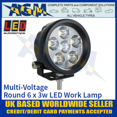 LED Autolamps 896FB80V Round 6 x 3W LED Work Lamp, Multi-Voltage
